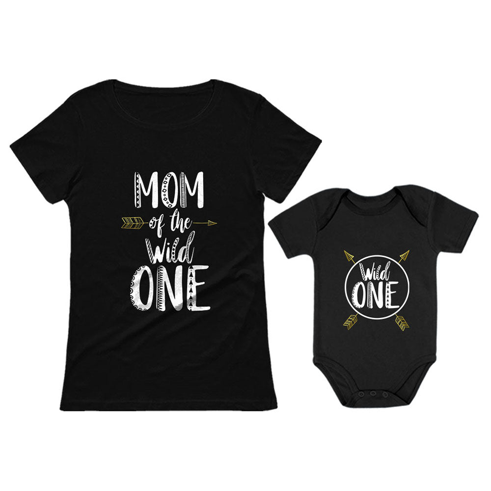 Wild One Mom & Baby 1st Birthday Baby Bodysuit & Women's T-Shirt Matching Set