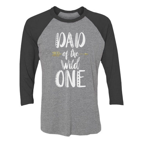 Tstars tshirts Dad Of The Wild One 3/4 Sleeve Baseball Jersey Shirt