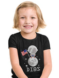 4th of July Dibs Moon USA Flag Toddler Kids T-Shirt