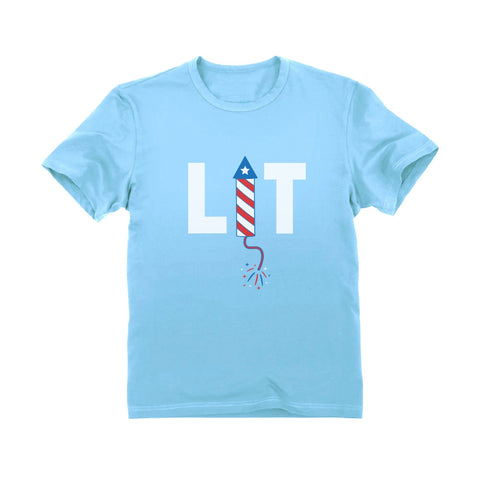 Tstars tshirts LIT 4th Of July Toddler Kids T-Shirt