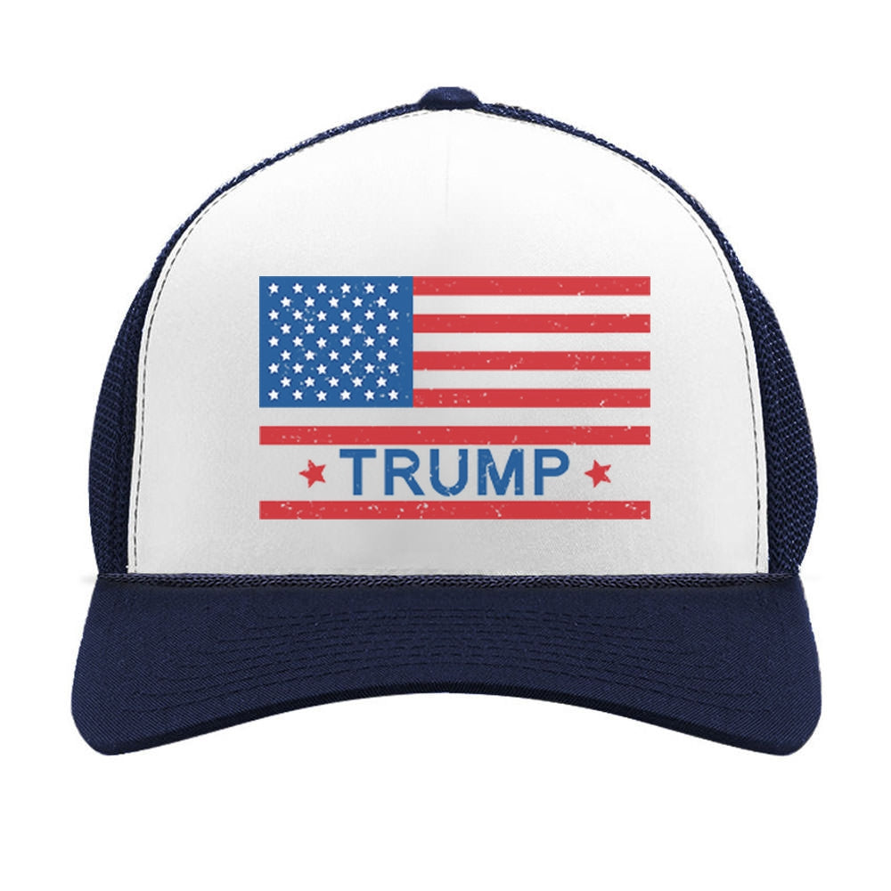 Donald Trump Vintage USA Flag Trucker Hat Mesh Cap