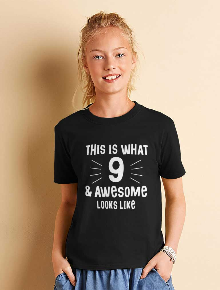 This Is What 9 & Awesome Looks Like Youth Kids T-Shirt