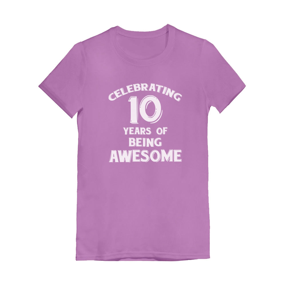 Celebrating 10 Years Of Being Awesome Youth Girls' Fitted T-Shirt