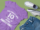 Thumbnail Celebrating 10 Years Of Being Awesome Youth Girls' Fitted T-Shirt