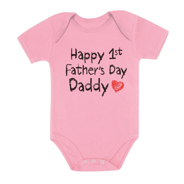 Tstars tshirts Happy First Father's Day Daddy Baby Bodysuit