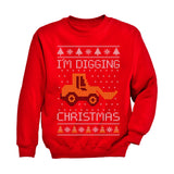 I'm Digging Christmas Ugly Sweater Tractor Toddler Kids Sweatshirt