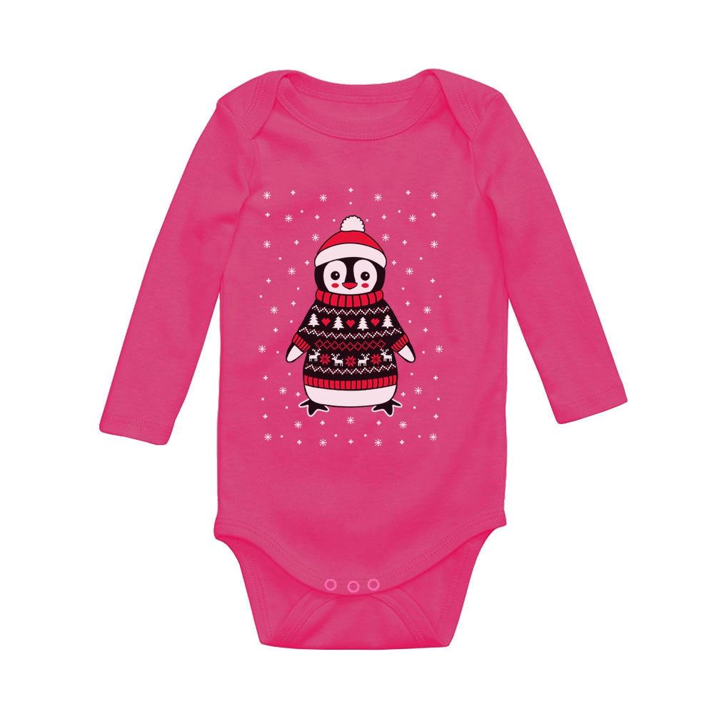 Cute Xmas Penguin Ugly Christmas Sweater Baby Long Sleeve Bodysuit