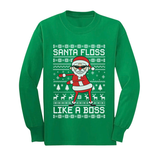 Tstars tshirts Santa Floss Like a Boss Ugly Christmas Sweater Youth Kids Long Sleeve T-Shirt