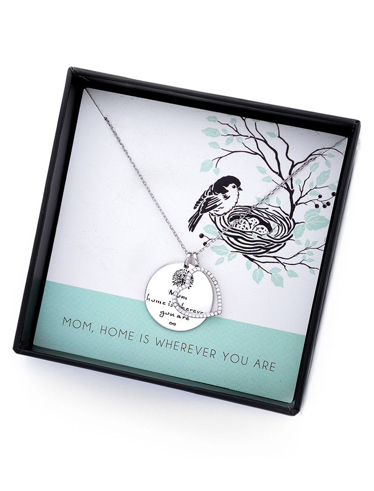 Home Is Wherever You Are Heart Mother Sterling Silver Pendant Necklace