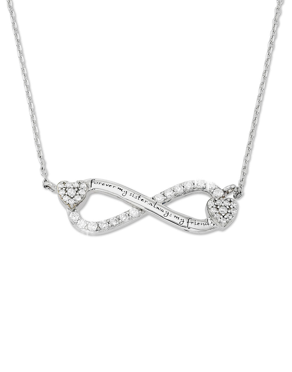 Infinity Zirconia Necklace - Forever My Sister Always My Friend - Gift for Sister and Bff