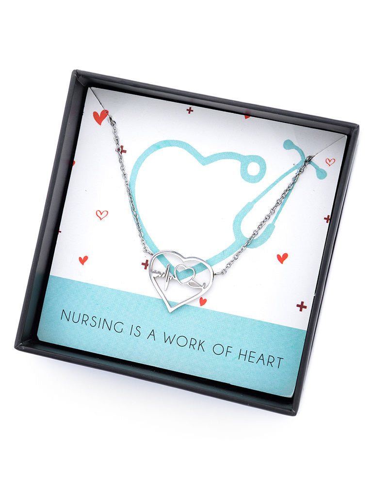 Heartbeat Pendant Necklace Gift For Medical Students , Doctor Nurses Meds Necklace