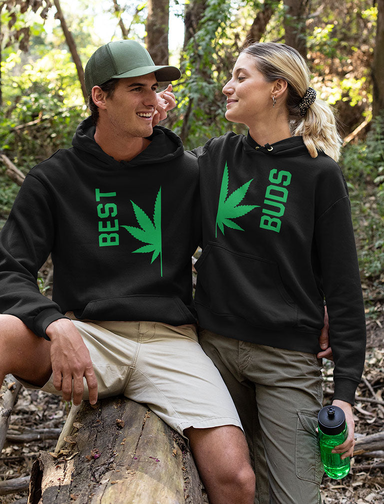 Best Buds Gift for Weed Lovers - Funny Cannabis Leaf Matching Hoodies Set