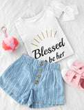 Blessed Mommy and Me Mother & Daughter Matching T-shirts Mother's Day Gift Set