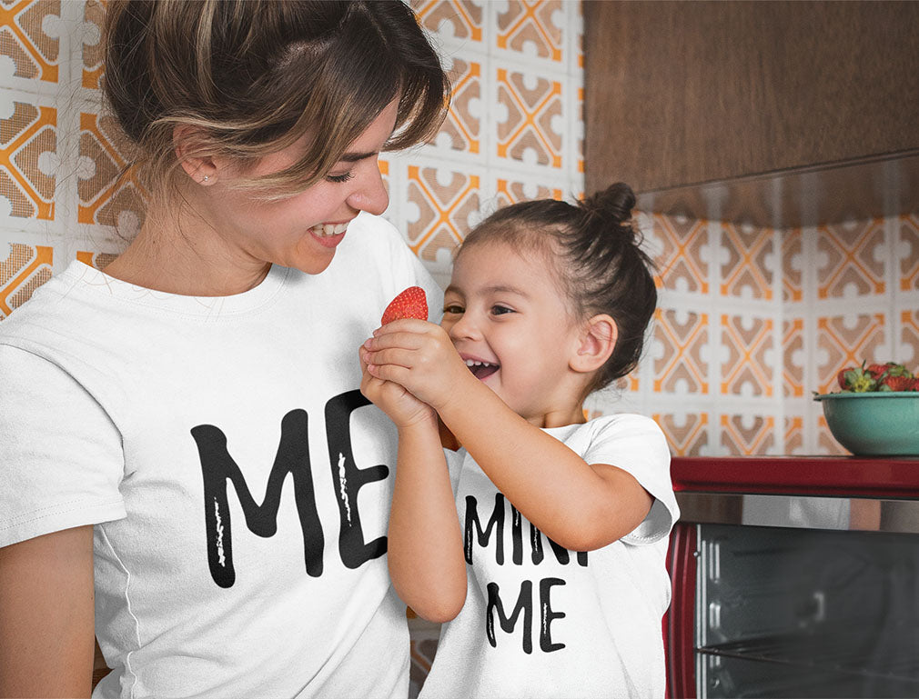 Mom and Daughter Matching T-Shirts Set Funny Me & Mini Me