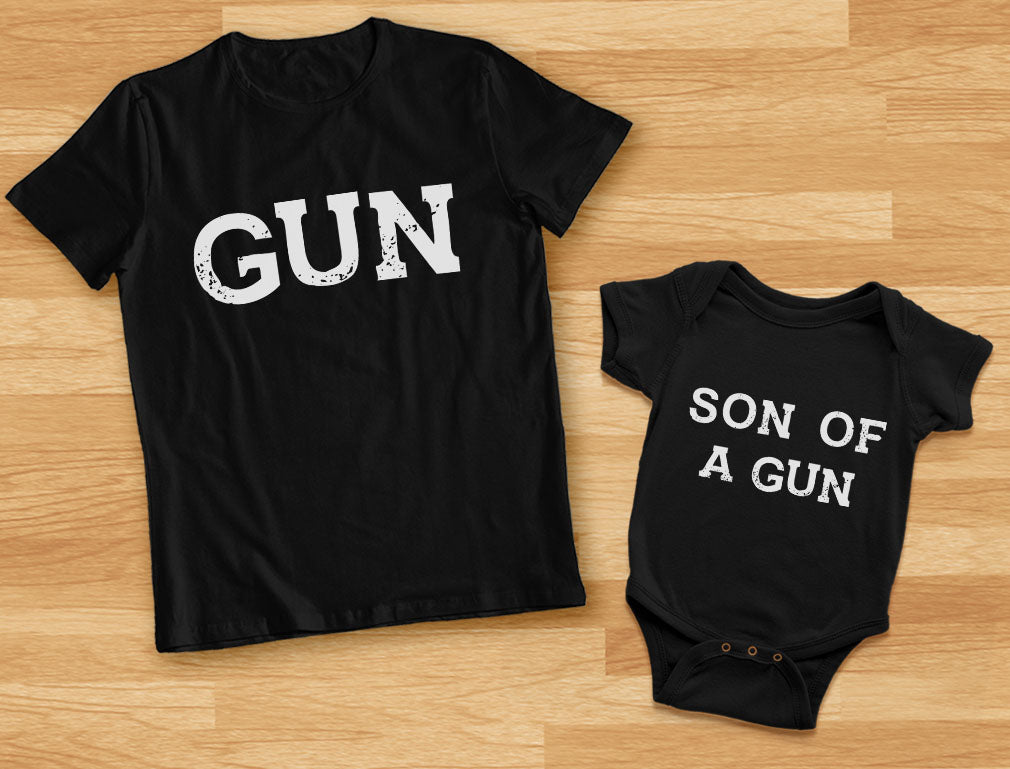 Gun & Son of a Gun Dad and Me Matching Set T-Shirt & Bodysuit Father's Day Gift