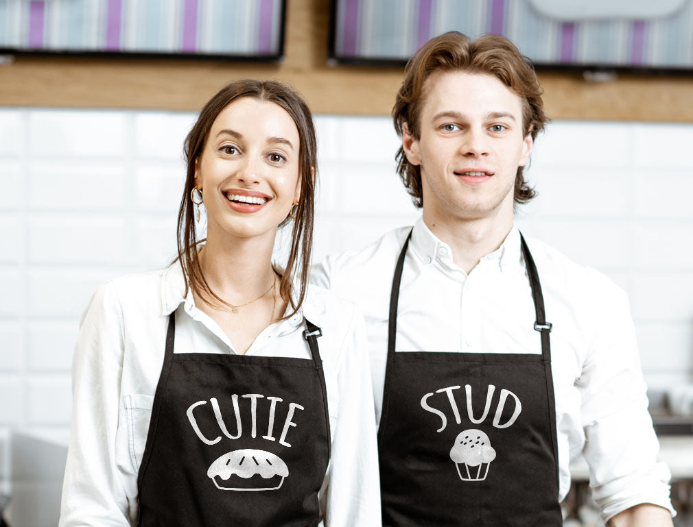Cutie Pie & Stud Muffin His & Hers / Husband & Wife Chef Aprons Set for Couples