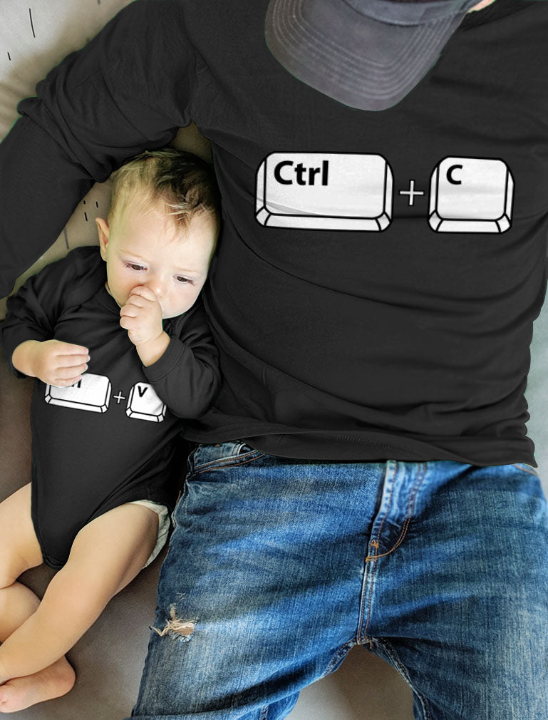Dad and Baby Matching Outfits Copy Paste Men Shirt Girl Boy Baby Bodysuit Set - Dad Black / Baby Aqua