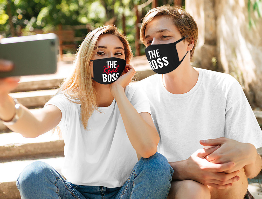 Boss Real Boss Matching Couples Face Mask Set of 2 Washable Face Mask Reusable