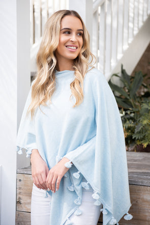 Cotton Cashmere Topper with Tassel Trim