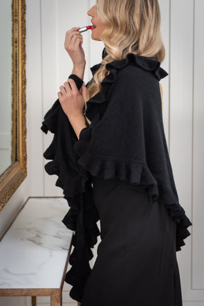 Cashmere Luxe Triangle Ruffle Wrap