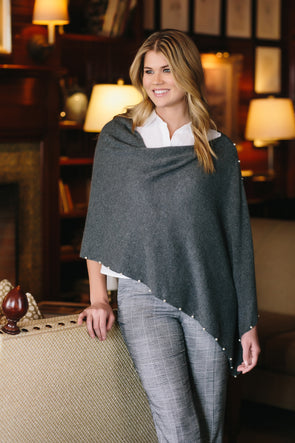 100% Cashmere Topper with Pearl Trim