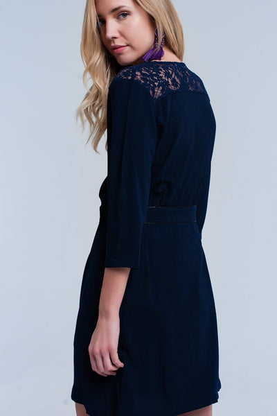 Cobblestone Navy Wrap Dress - myboho.com.au