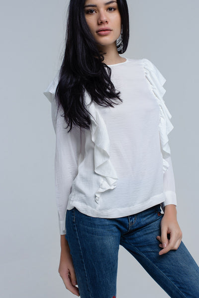 Sutton Cream Ruffle Top - myboho.com.au