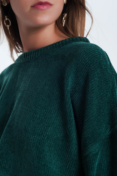 Francesca Flared Green Sweater - myboho.com.au