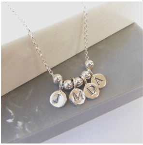 Sterling Silver Initial Bead Necklace