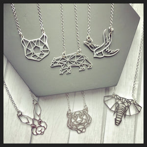 Sterling Silver Geometric Cat Necklace