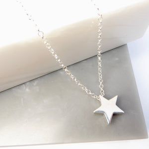 Sterling Silver Solid Star Bead Necklace