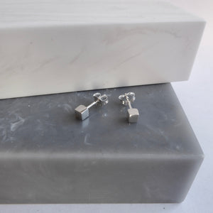 Sterling Silver Tiny Cube Studs