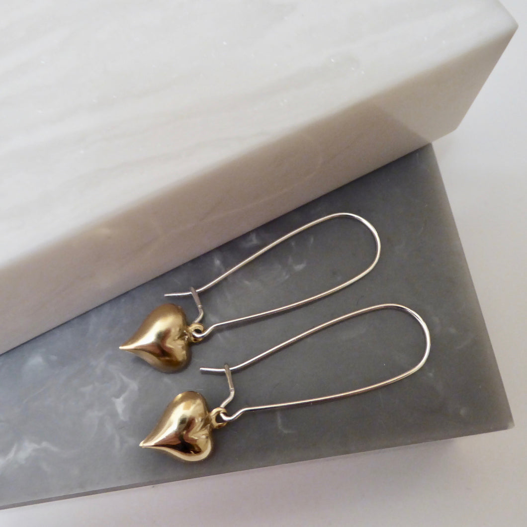 Sterling Silver Gold Filled Heart Earrings