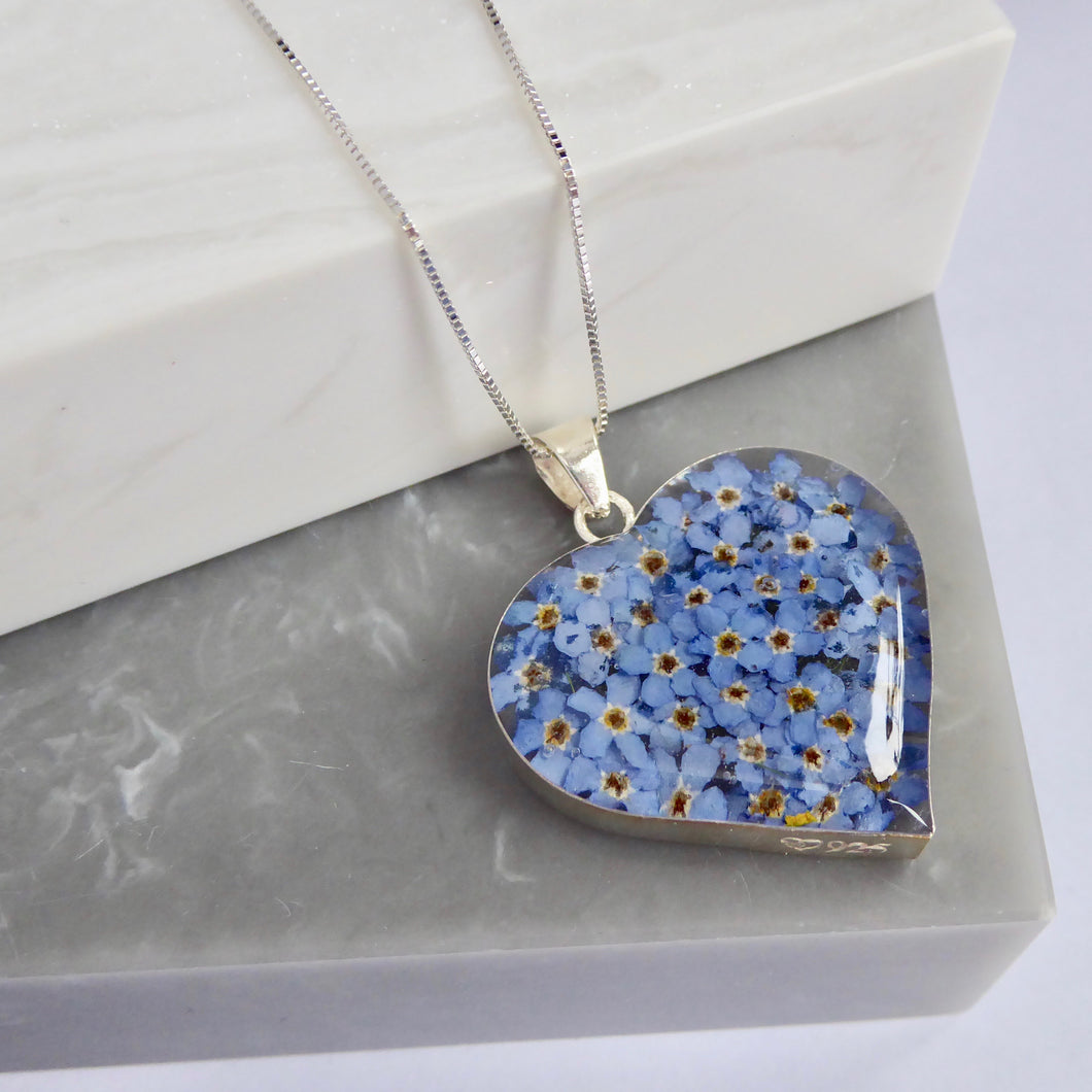 SALE!! Sterling Silver Forget Me Not Heart Necklace