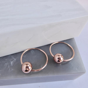 Rose Gold Filled Hoop And Ball earrings