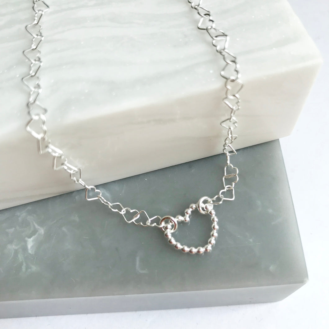 Sterling Silver Heart Link Chain Anklet