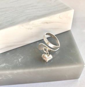 Sterling Silver Adjustable Heart Charm Ring