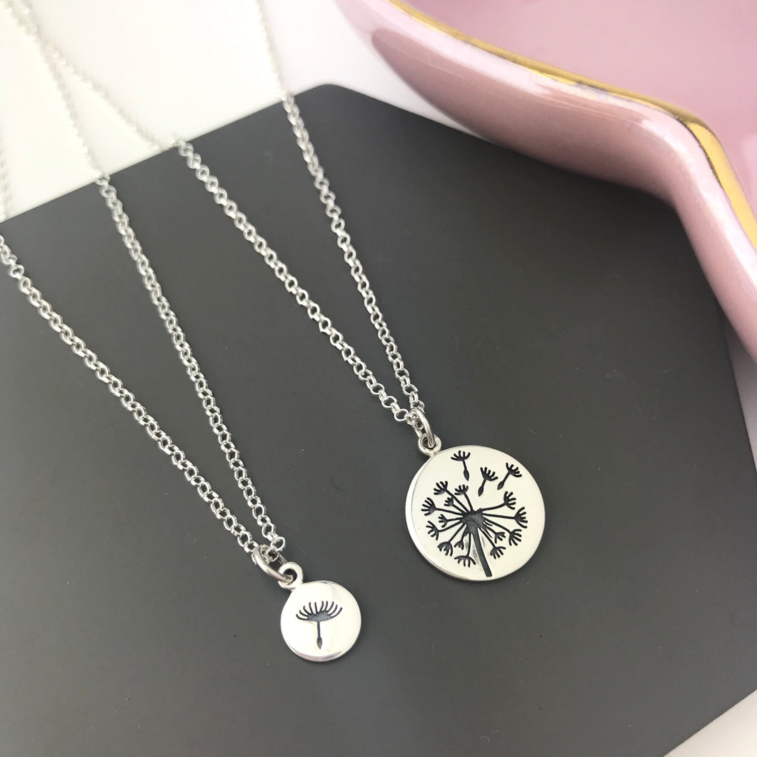 Sterling Silver Mother & Daughter Dandelion Necklace