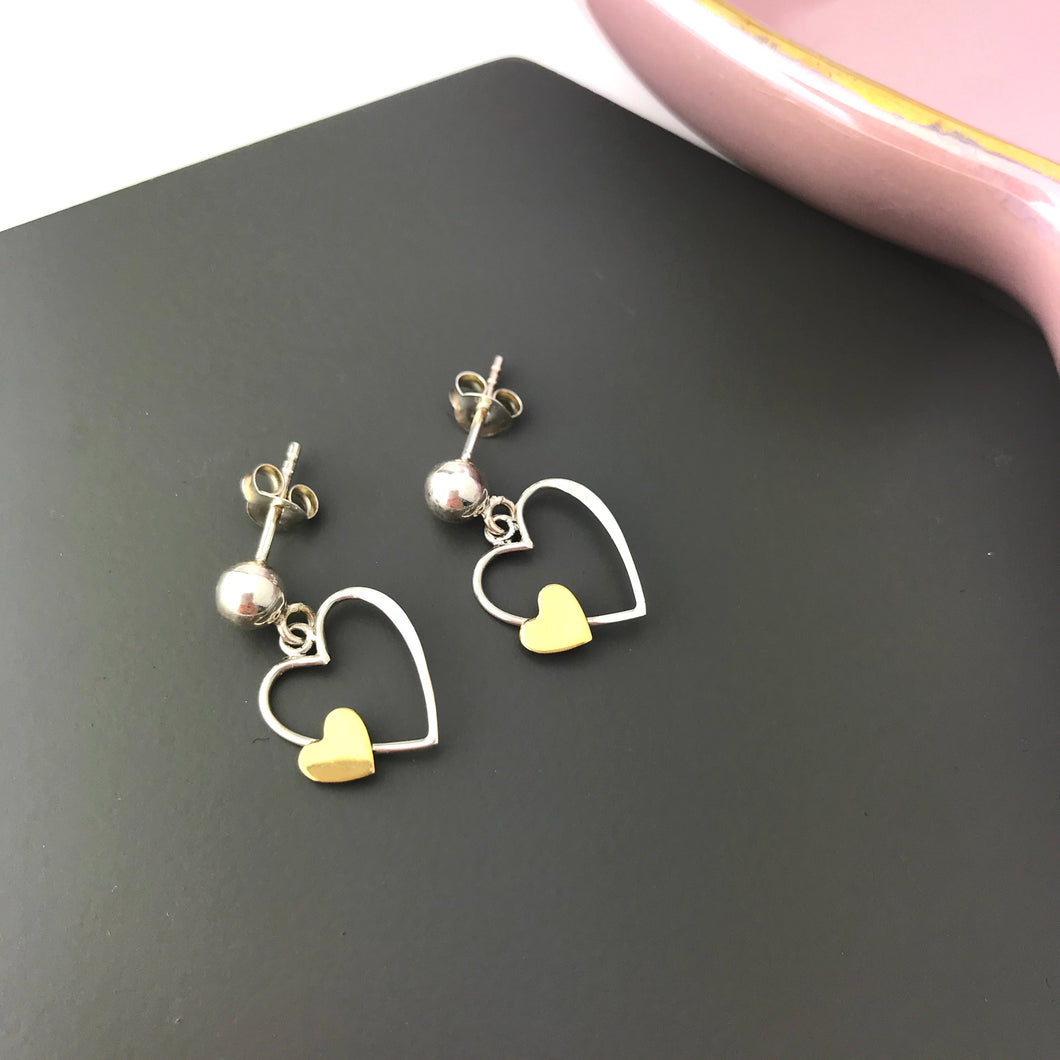 Sterling Silver Love Heart Earrings
