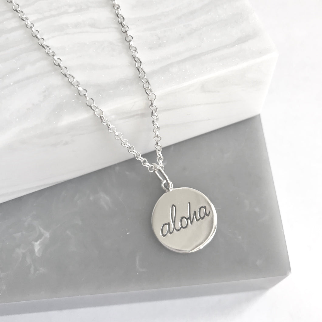 SALE!! Sterling Silver Aloha Pendant Necklace
