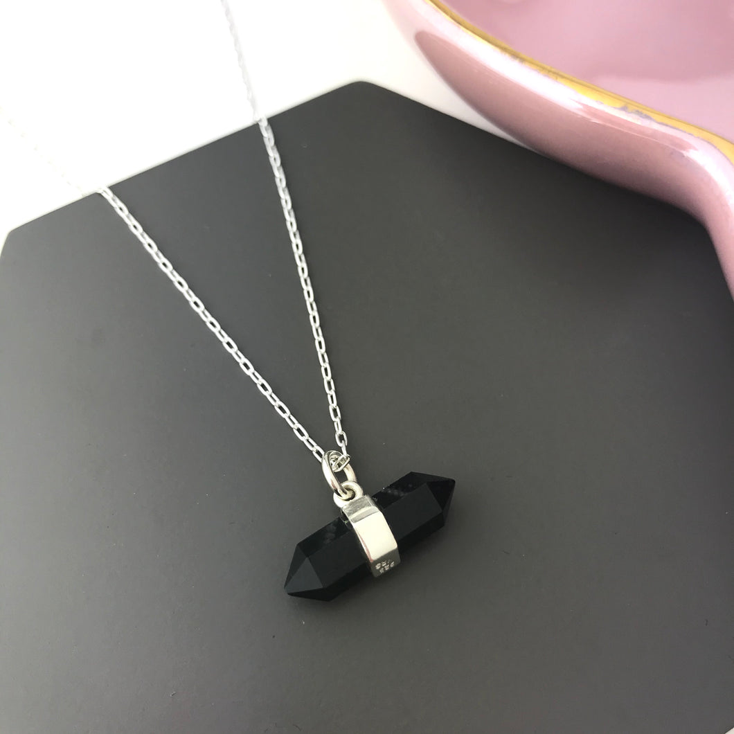 sterling silver black onyx pendant necklace