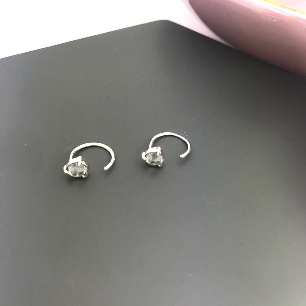sterling silver hug hoop earrings