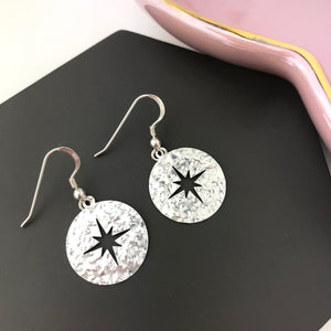 SAMPLE Sterling Silver Cut Out Star Disc Earrings