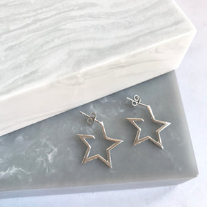 Sterling Silver LARGE Star Hoop Earrings