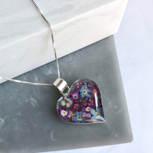 SALE!! Sterling Silver & Purple Flower Heart Necklace