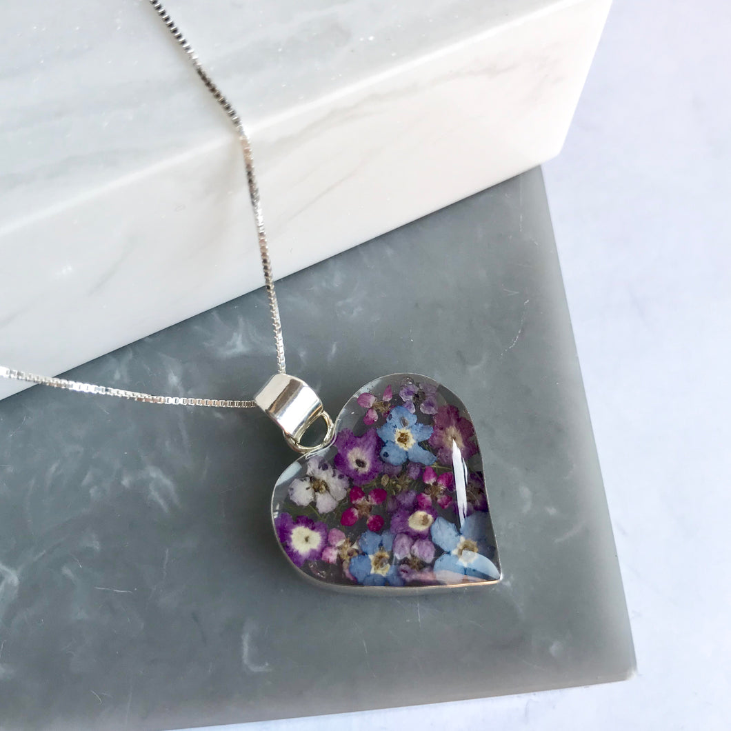 Sterling Silver & Purple Flower Heart Necklace