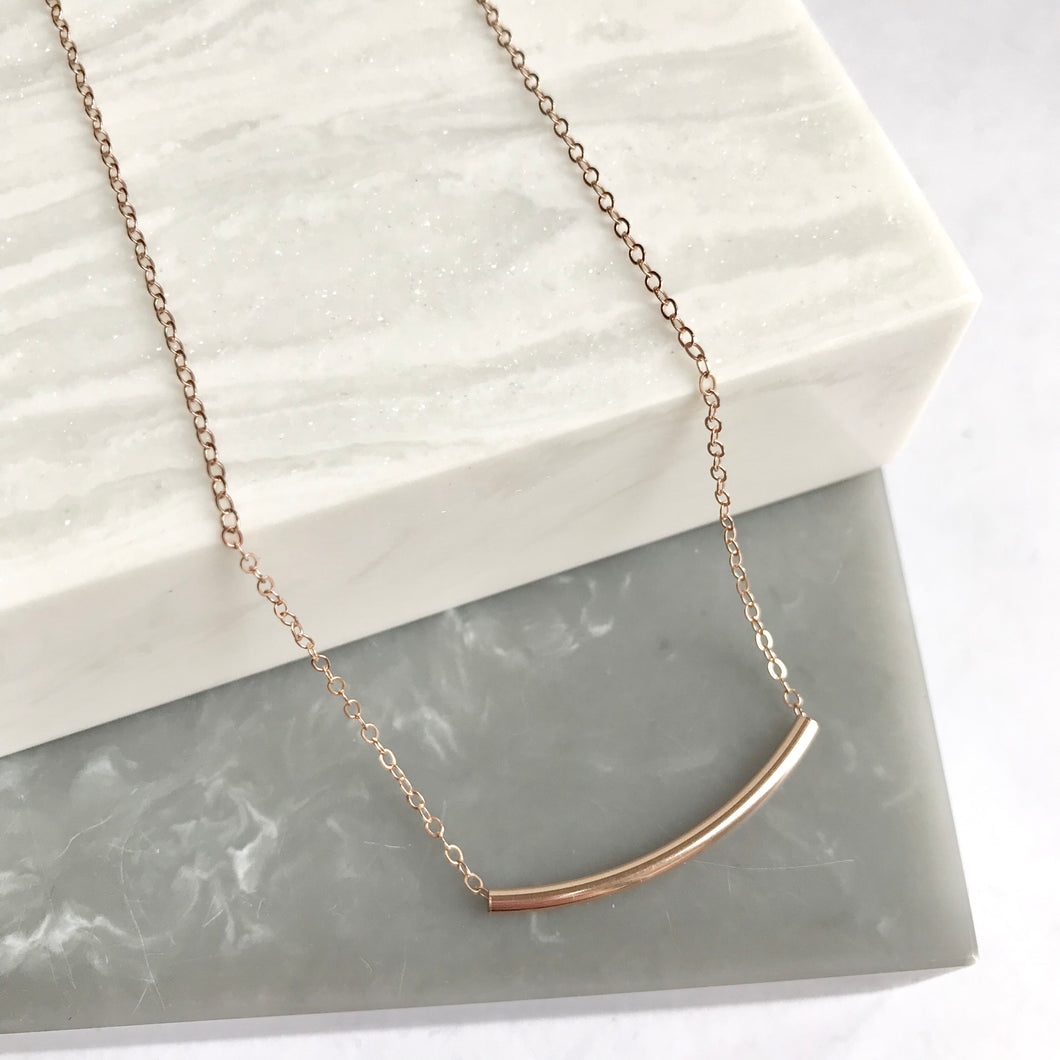 Rose Gold Filled Tube Necklace