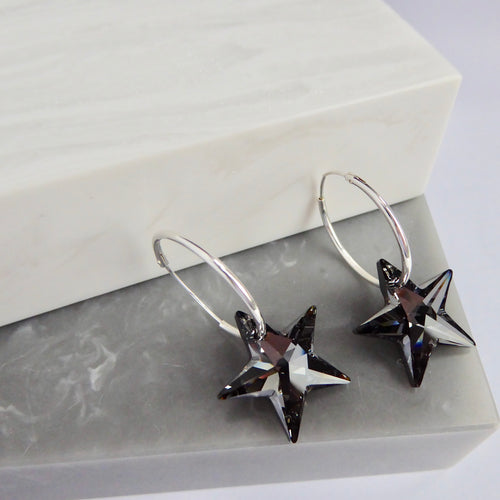 Sterling Silver Hoops And Swarovski Elements Stars