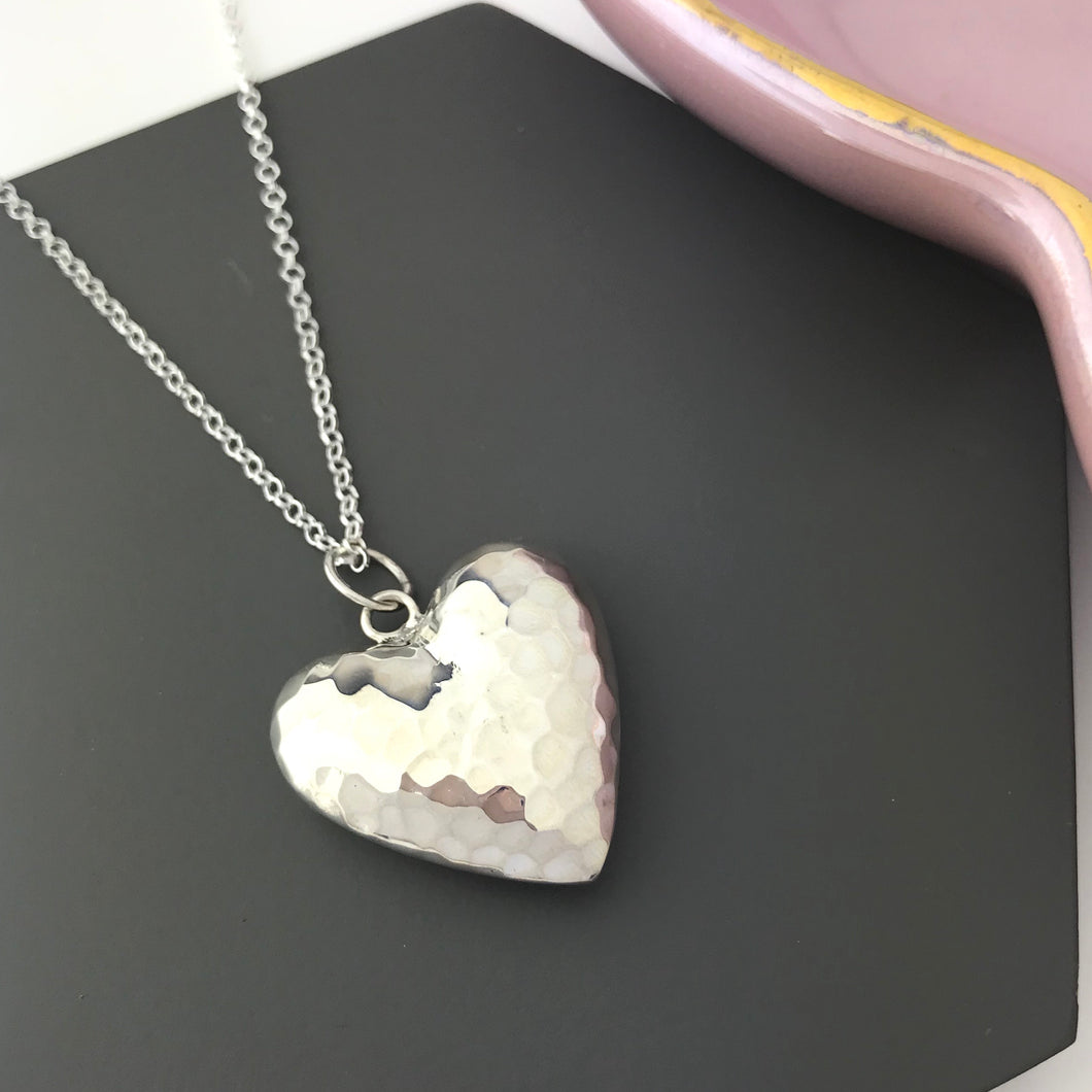 Sterling Silver Giant Hammered Heart Necklace