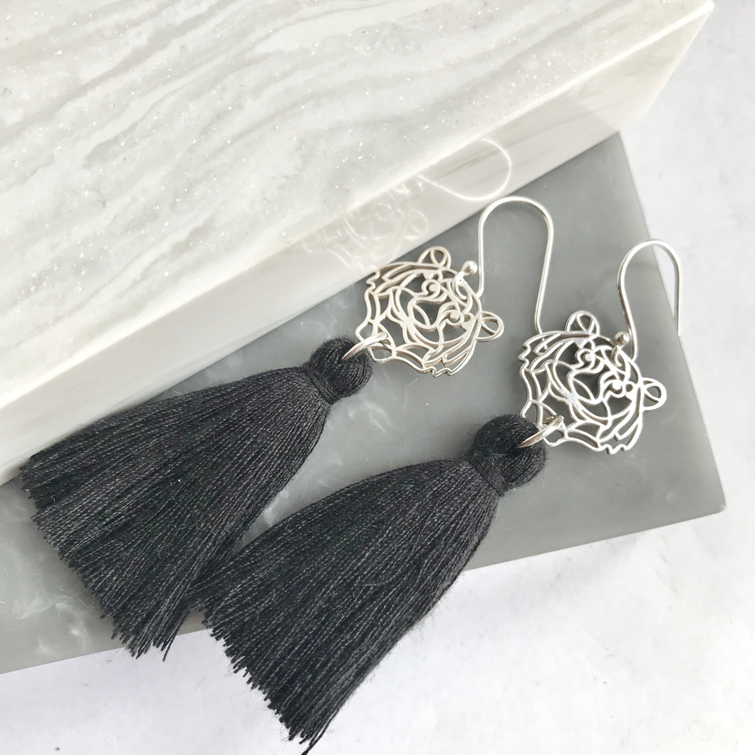 Sterling Silver Tiger Tassel Earrings
